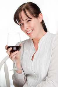 Smiling Women With Wine Glass