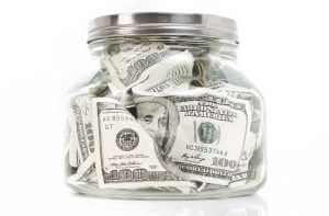 Money in a jar (How much does it cost to get your teeth whitened?; This much)